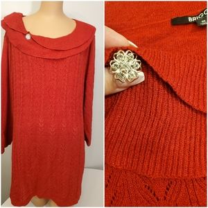 BRIGGS Beautiful Red & Red Sparkle Knit Sweater 3x